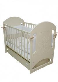Кроватка детская ЛД 8 (резьба мишка со стразами)