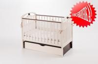 Кроватка детская ЛД 5 (продольный маятник + шухляда) декор «шарик»