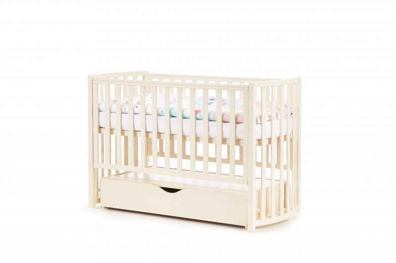 Кроватка детская Соня ЛД14 маятник + шухляда  овал