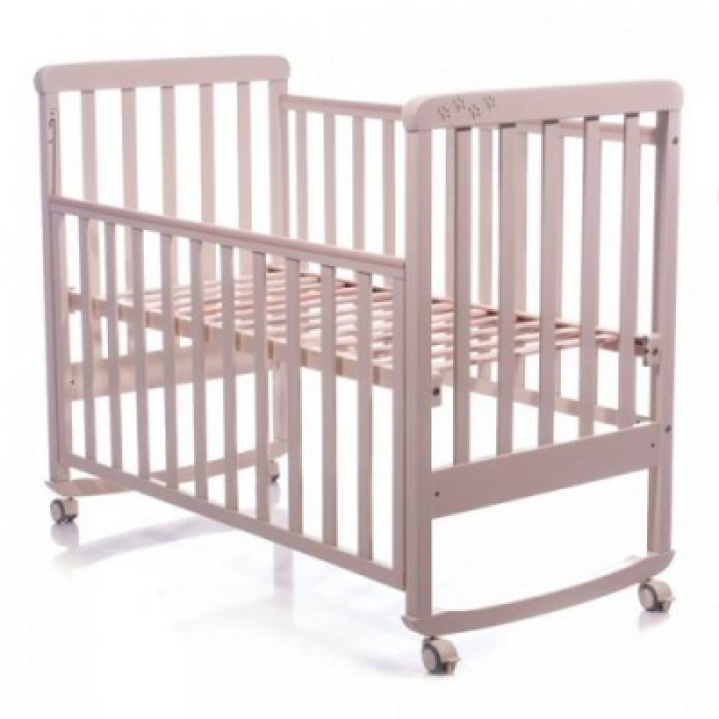 Кроватка детская ЛД 12 (качалка без ящика), резьба лапки, слоновая кость