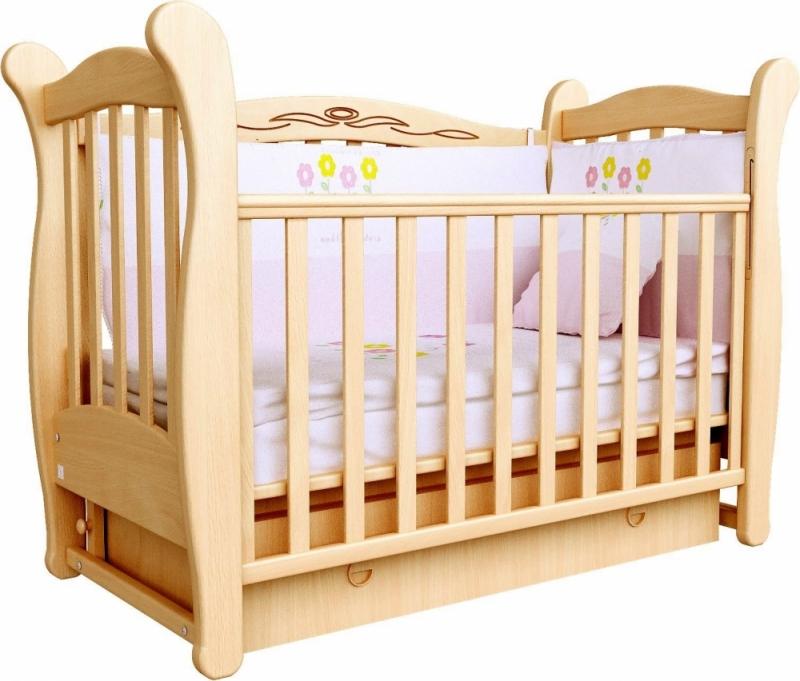 Кроватка детская ЛД 15 (маятник+ящик), бук