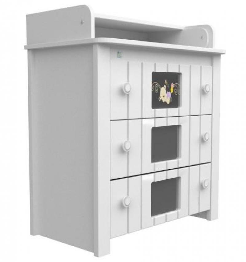 Комод-пеленатор 900х900х510 (декор мишка на стекле) - белый