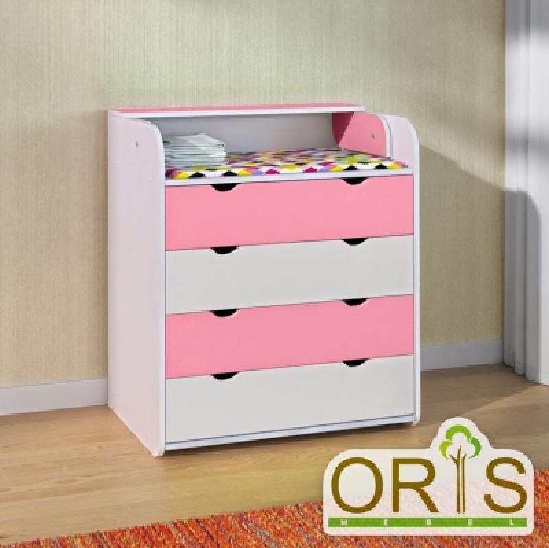 Комод-пеленатор ORIS (бело-розовый)