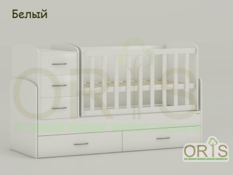 Кроватка детская трансформер  ORIS MAYA (белый)