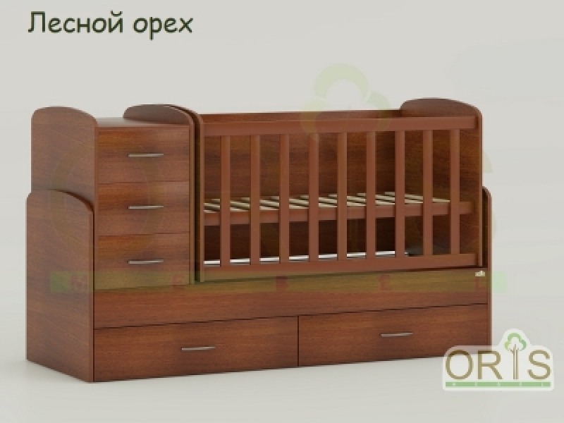 Кроватка детская трансформер  ORIS MAYA (орех)