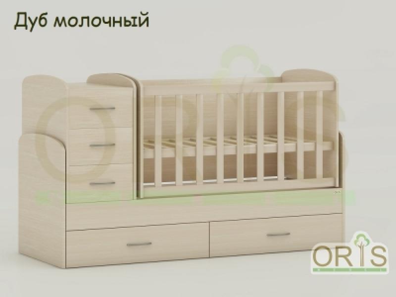 Кроватка детская трансформер  ORIS MAYA (дуб молочный)