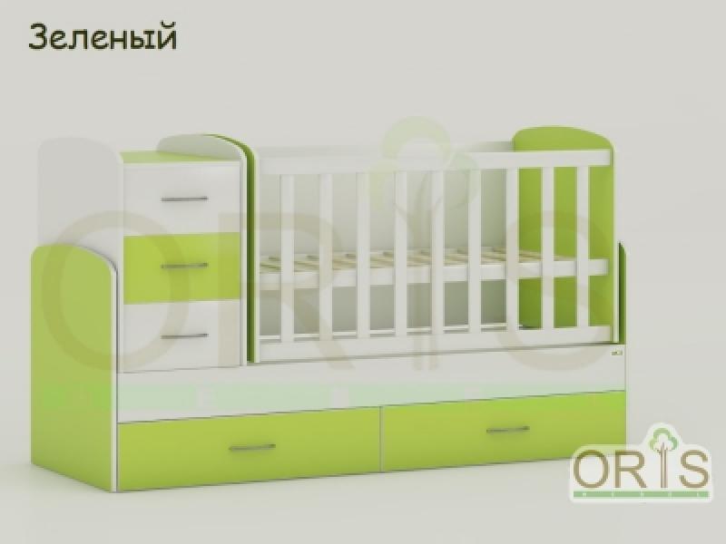 Кроватка детская трансформер  ORIS MAYA (бело-зеленый)