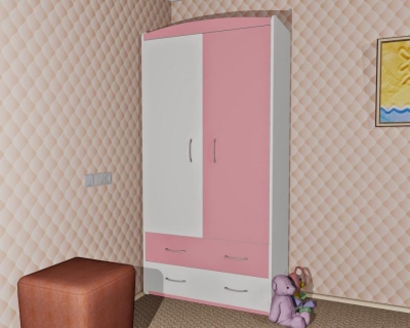Шкаф ORIS (бело-розовый)