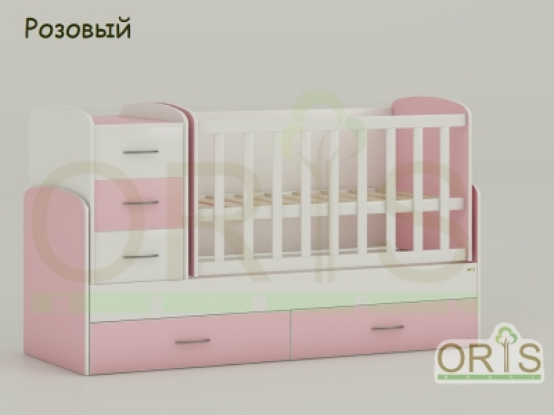 Кроватка детская трансформер  ORIS MAYA (бел-орозовый)