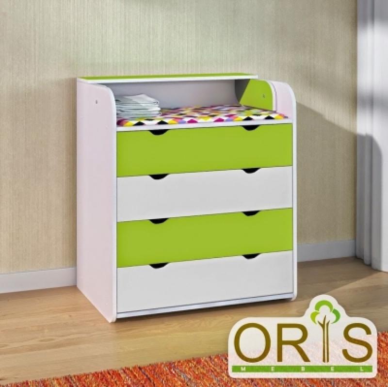Комод-пеленатор ORIS (бело-зеленый)