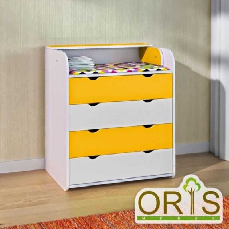 Комод-пеленатор ORIS (бело-желтый)