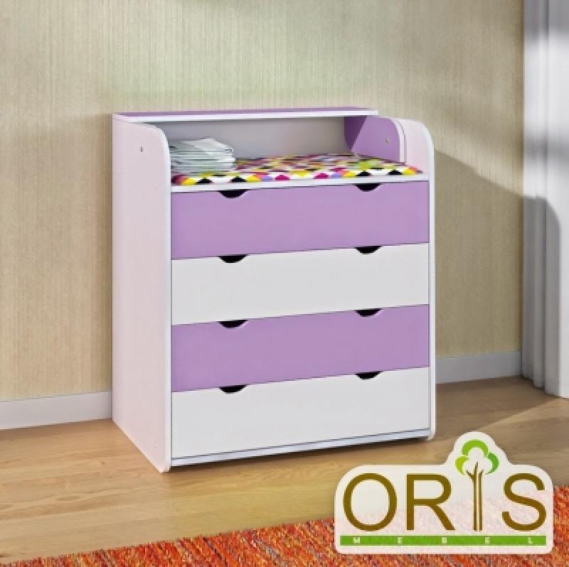Комод-пеленатор ORIS (бело-лиловый)