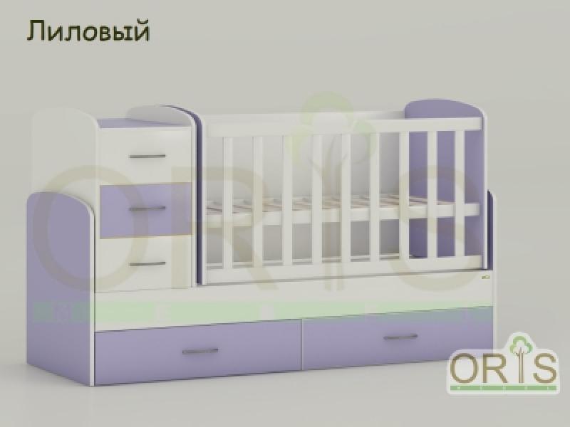 Кроватка детская трансформер  ORIS MAYA (бело-лиловый)
