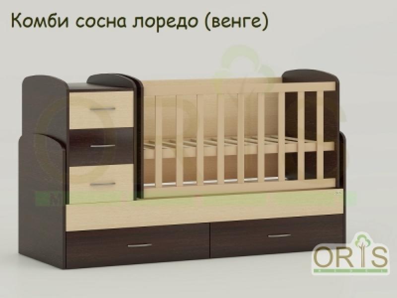 Кроватка детская трансформер  ORIS MAYA (комбинированый)
