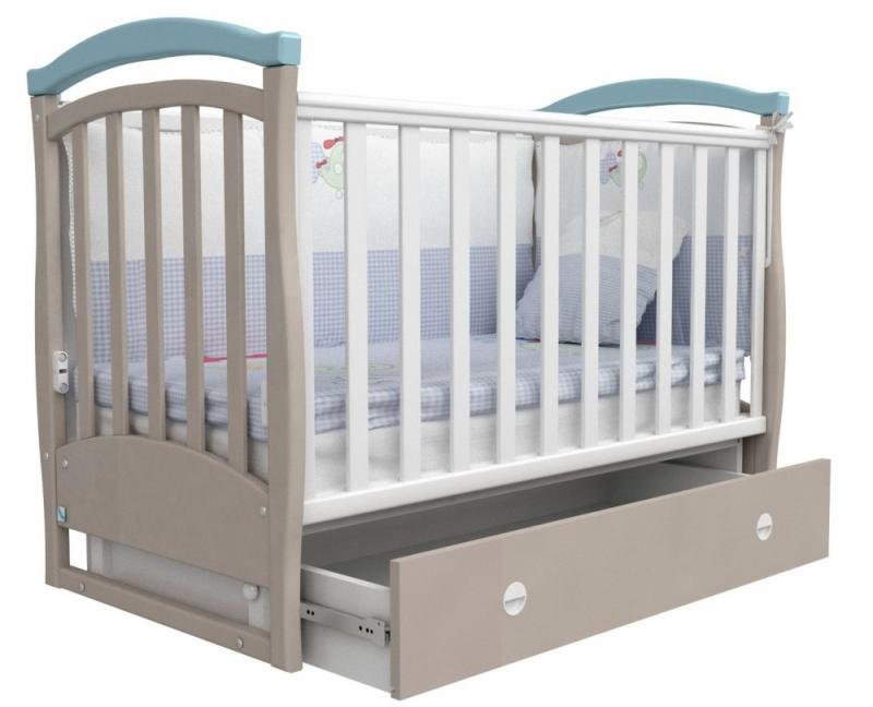 Кроватка детская ЛД 6, капучино/голубой