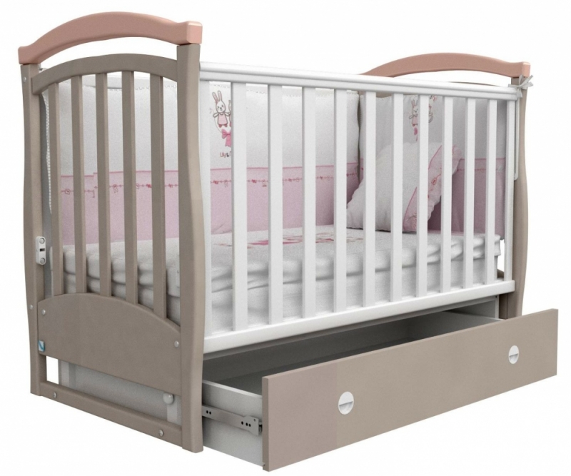 Кроватка детская ЛД 6, капучино/розовый
