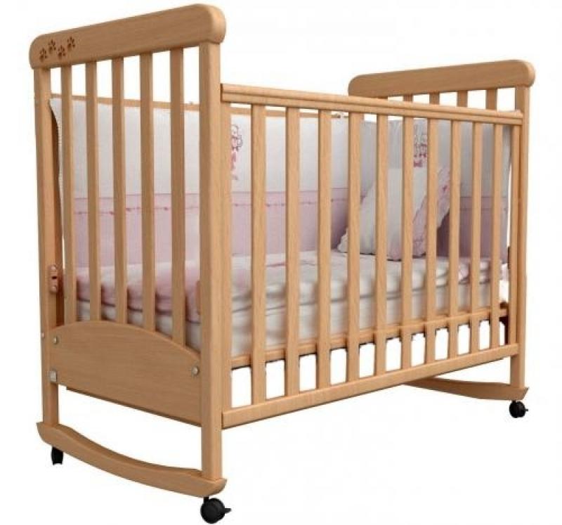 Кроватка детская ЛД 12 (качалка без ящика), резьба лапки, бук
