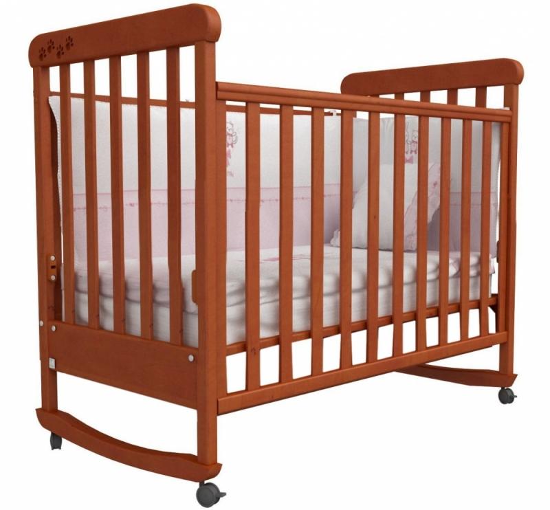 Кроватка детская ЛД 12 (качалка без ящика), резьба лапки, ольха