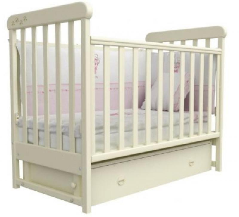 Кроватка детская ЛД 12, резьба лапки, слоновая кость