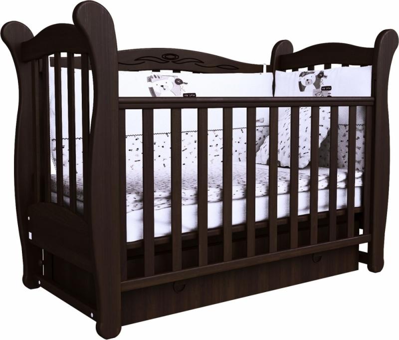 Кроватка детская ЛД 15 (маятник+ящик), орех