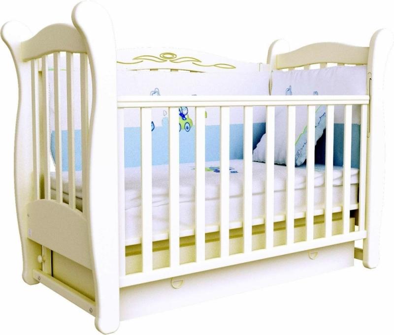 Кроватка детская ЛД 15 (маятник+ящик), слоновая кость