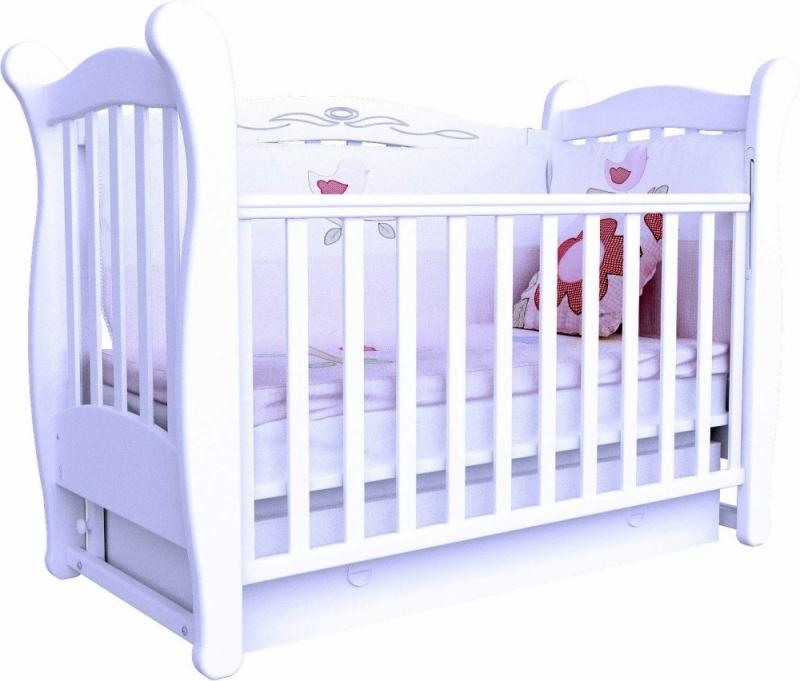 Кроватка детская ЛД 15 (маятник+ящик), белый