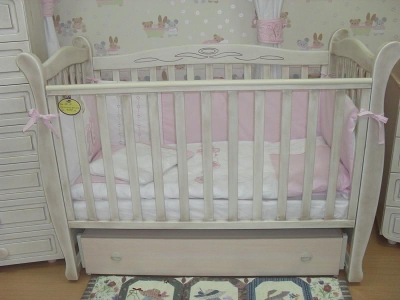 Кроватка детская ЛД 15 (маятник+ящик), патина дуб молочный