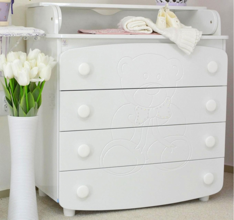 Комод-пеленатор, 900х900х510, ДСП/МДФ, белый, мишка со стразами