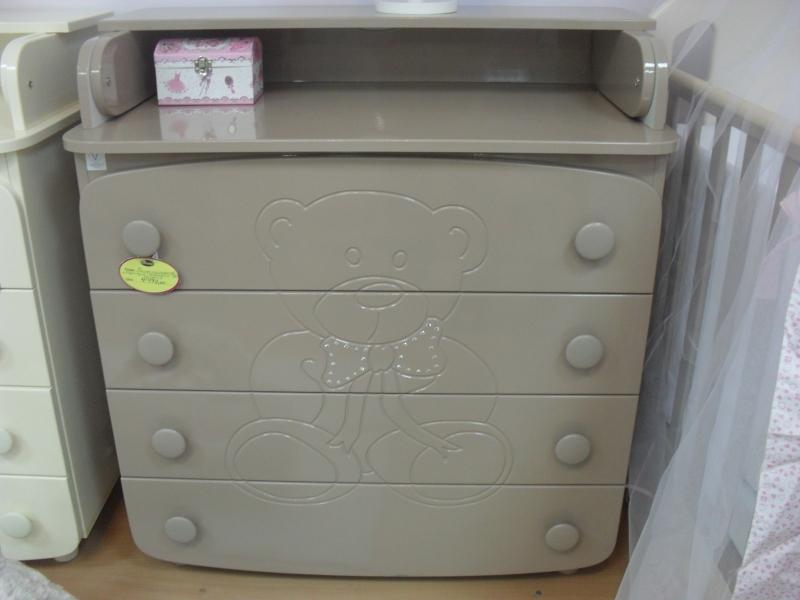 Комод-пеленатор 900х900х510 (ДСП+МДФ) - капучино (декор Мишка с стразами)