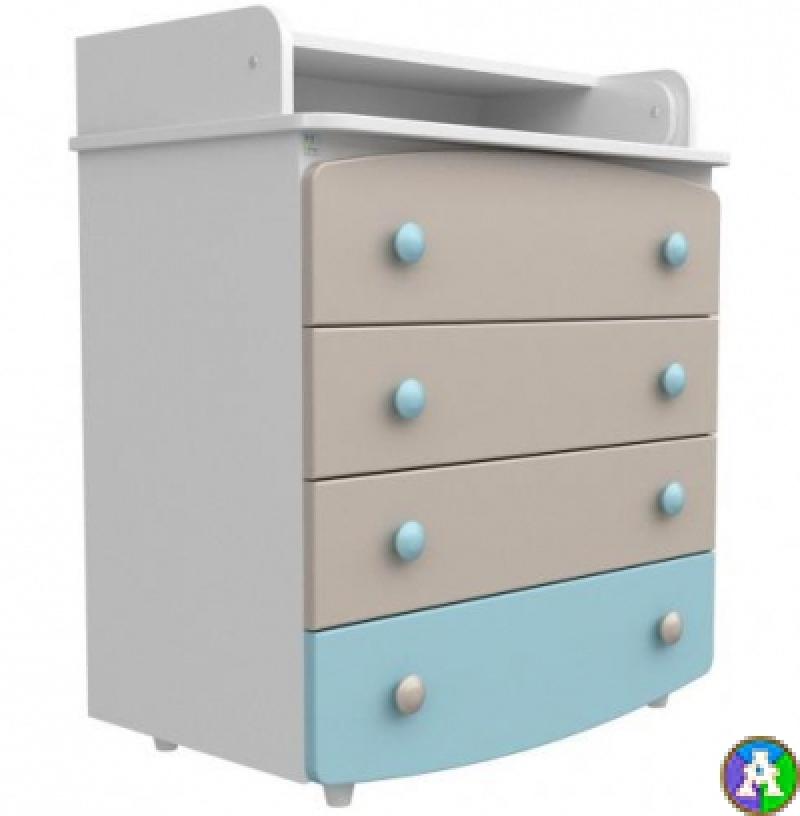 Комод-пеленатор, 900х600х510, ДСП, капучино/голубой