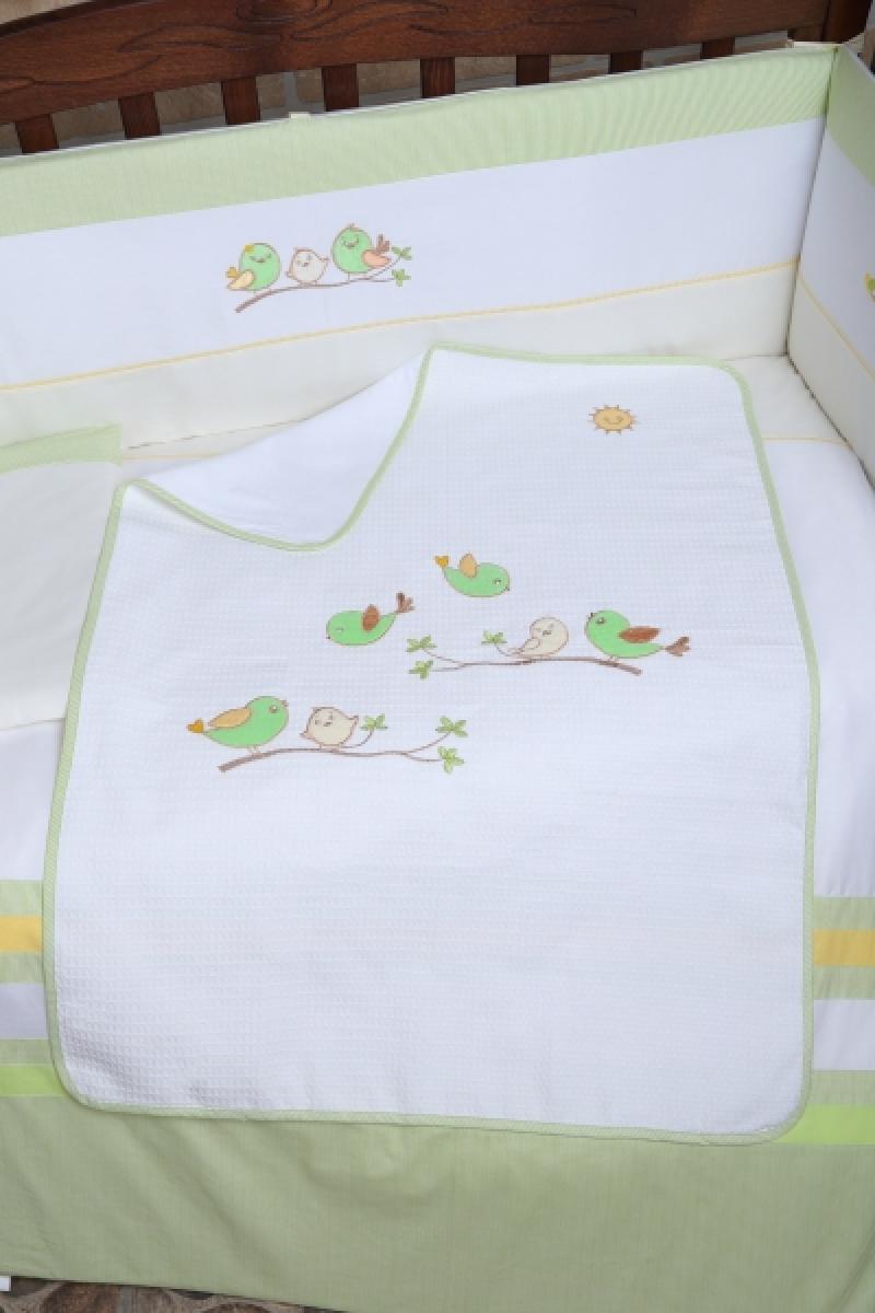 """Плед  Veres """"Spring Birdies green"""""""