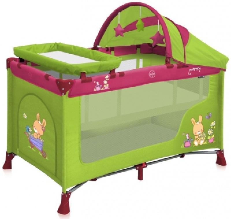 Манеж Bertoni NANNY 2L+ ROCKER (green pink bunnies)