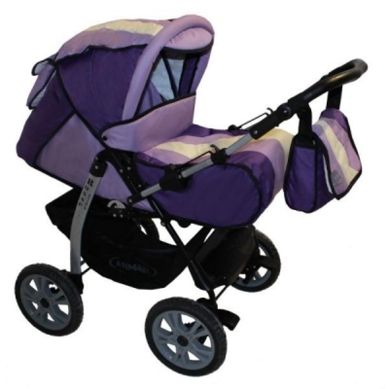Коляска-трансформер ANMAR ROSSE GOLDEN (dark violet-violet) пласт. колеса