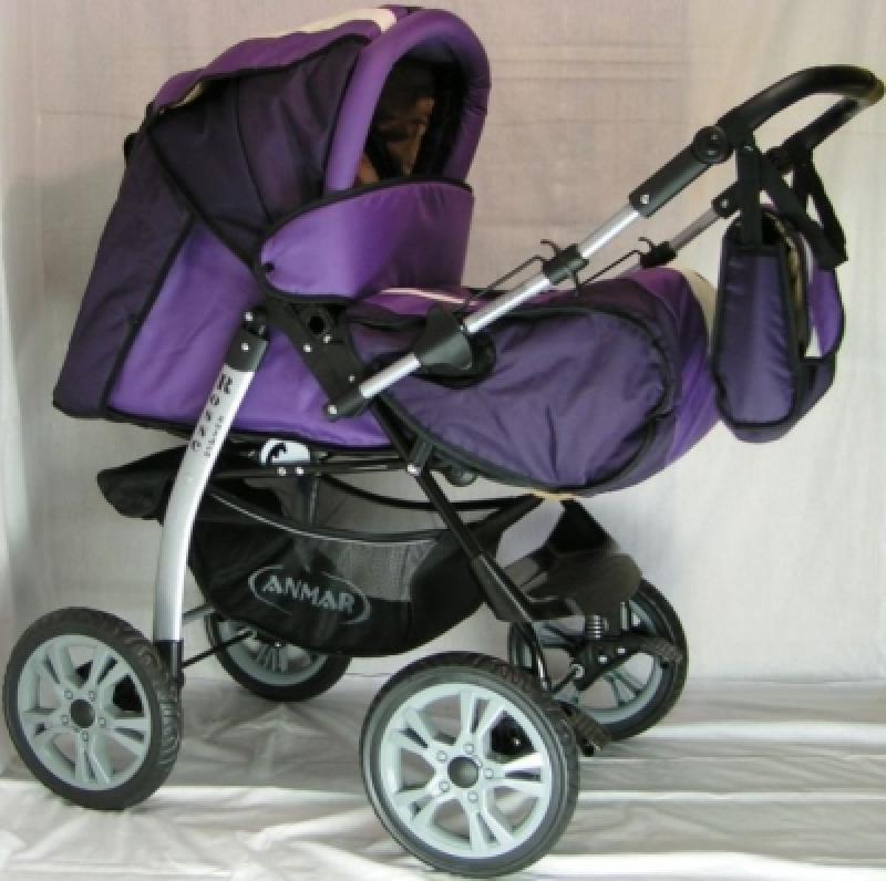 Коляска-трансформер ANMAR ROSSE GOLDEN (lilac-violet) надув. колеса