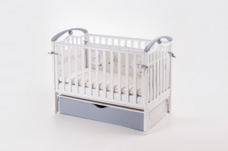 Кроватка детская ЛД 5 (продольный маятник+ящик), бело/серый