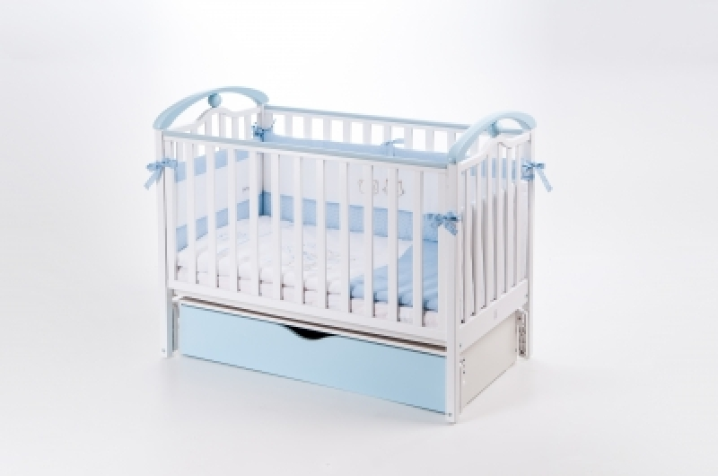 Кроватка детская ЛД 5 (продольный маятник+ящик), бело/голубой