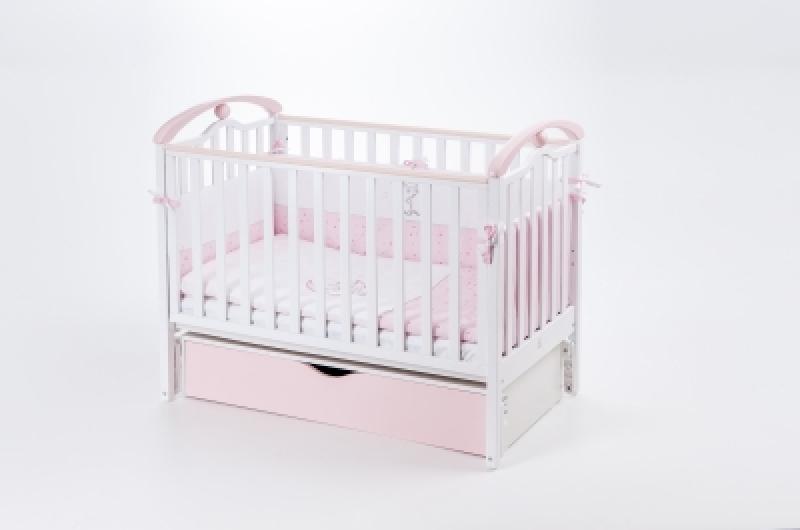Кроватка детская ЛД 5 (продольный маятник+ящик), бело/розовый