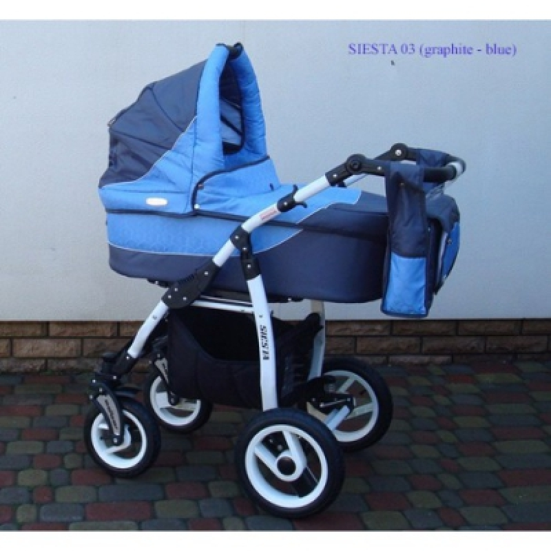 Коляска 2в1 ADBOR SIESTA 03 (graphite - blue)