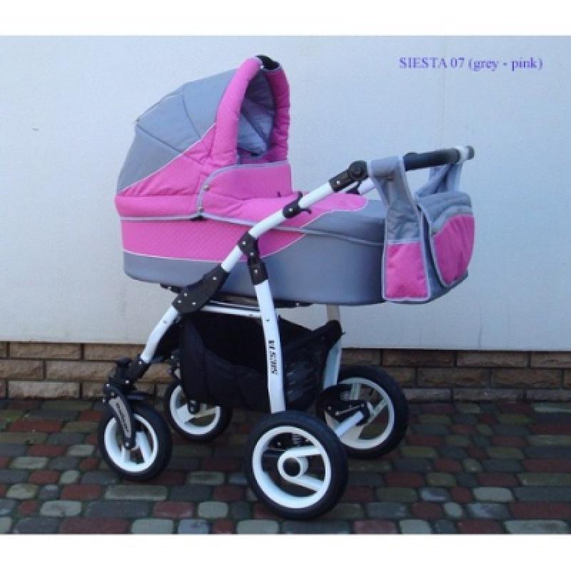 Коляска 2в1 ADBOR SIESTA 07 (grey - pink)