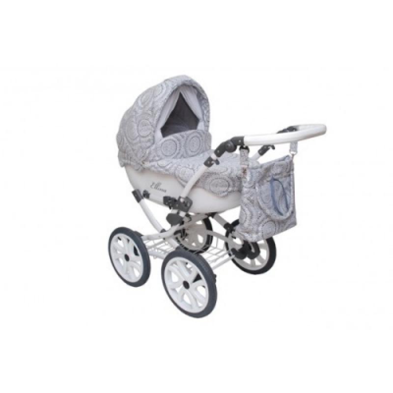 Коляска 2в1 Anmar Ellina-03 колеса 14 (тем.серый+белый)
