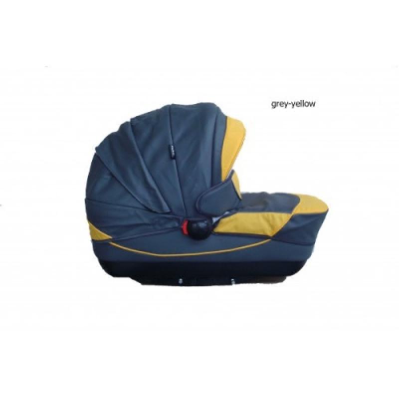 Коляска 2в1 Kajtex Tramonto grey-yellow (эко-кожа) без дожд-ка