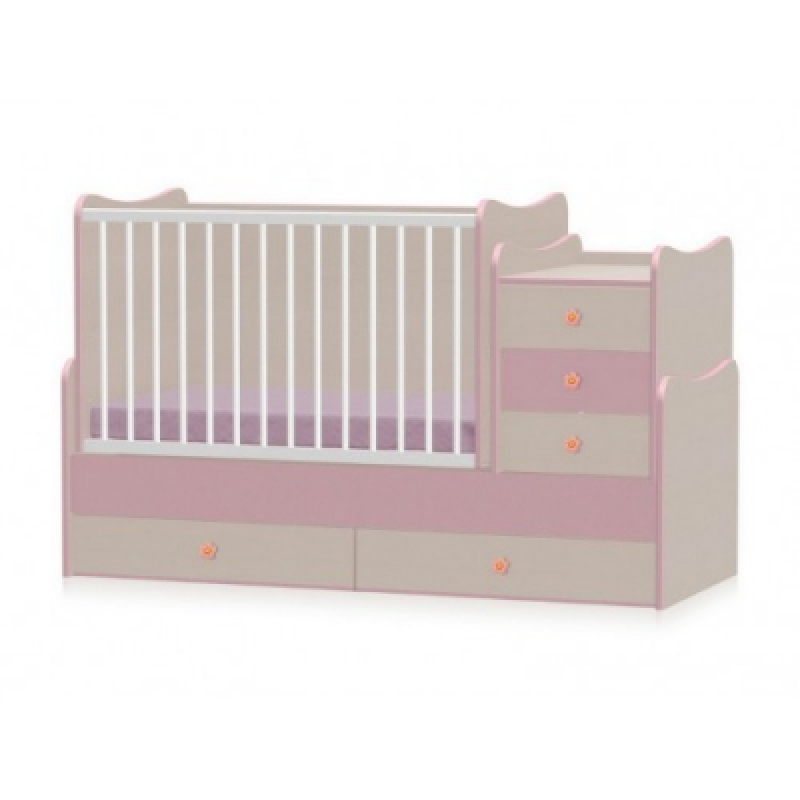 Кроватка-трансформер Bertoni MAXI PLUS NEW 70\160  (oak\pink)