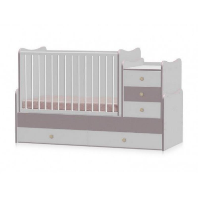 Кроватка-трансформер Bertoni MAXI PLUS NEW 70\160 (white/cappuccino)