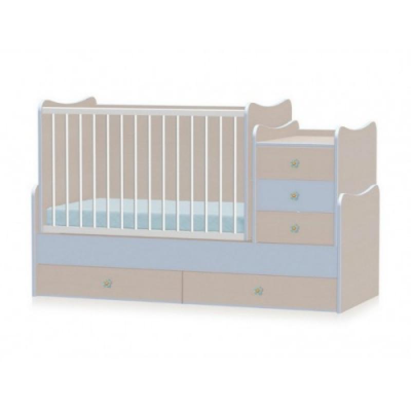Кроватка-трансформер Bertoni MAXI PLUS NEW 70\160 (oak\blue)
