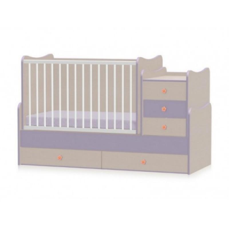 Кроватка-трансформер Bertoni MAXI PLUS NEW 70\160  (oak\violet)