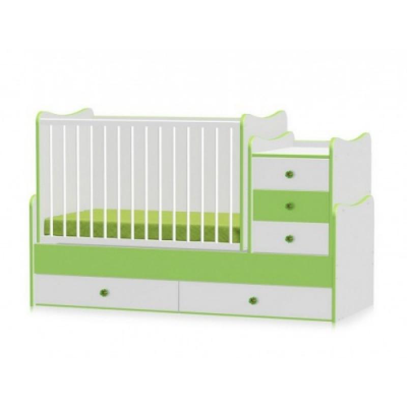 Кроватка-трансформер Bertoni MAXI PLUS NEW 70\160 (white/green)