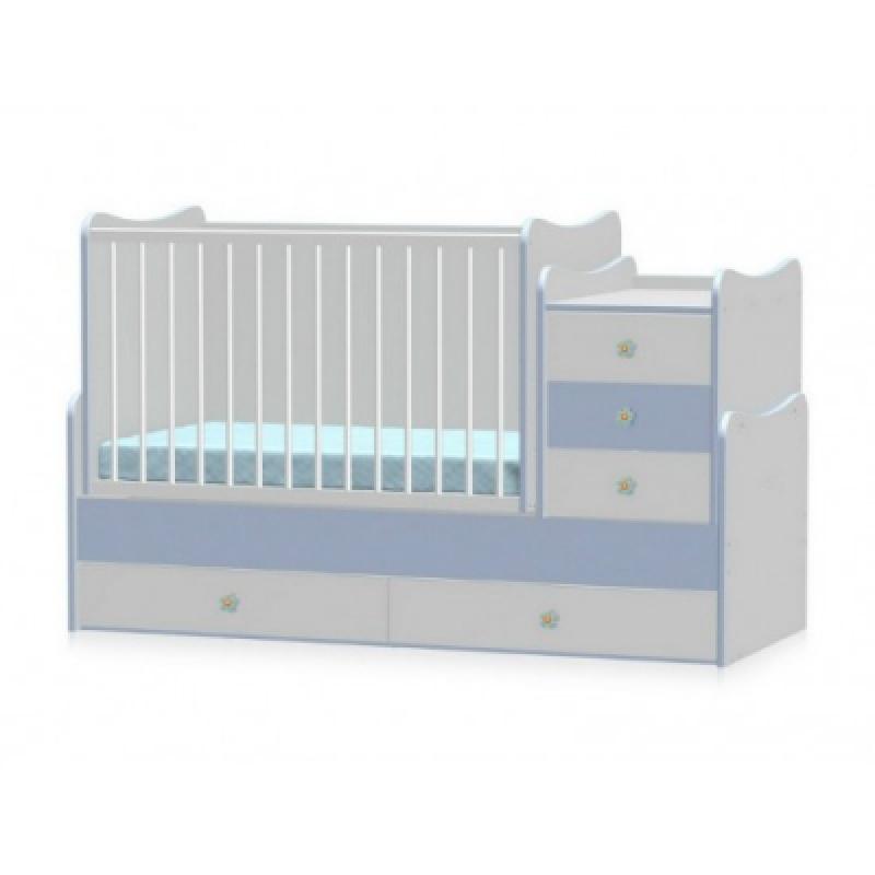 Кроватка-трансформер Bertoni MAXI PLUS NEW 70\160 (white\blue)