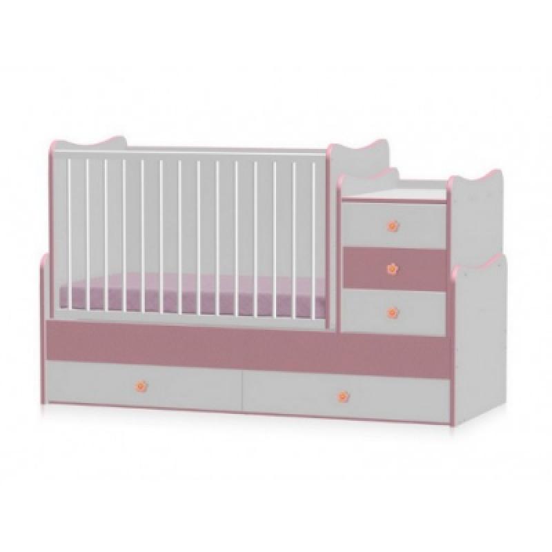 Кроватка-трансформер Bertoni MAXI PLUS NEW 70\160 (white\pink)