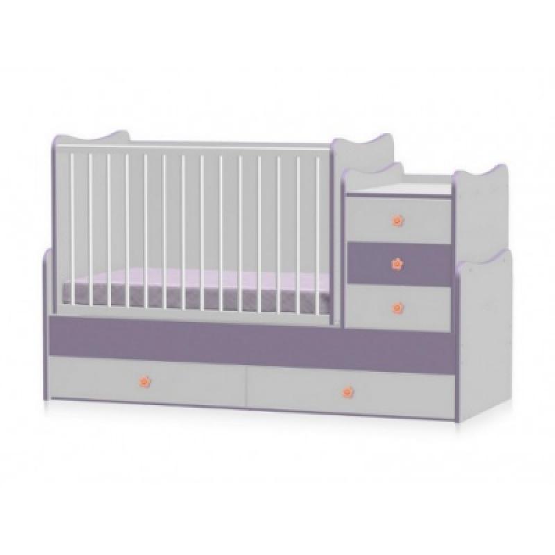 Кроватка-трансформер Bertoni MAXI PLUS NEW 70\160 (white\violet)