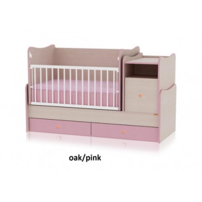 Кроватка-трансформер Bertoni TREND PLUS (oak\pink)